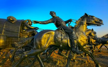 Statues of the historic 1889 Land Run in Oklahoma City, located a few minutes west of the Midwest City Office.