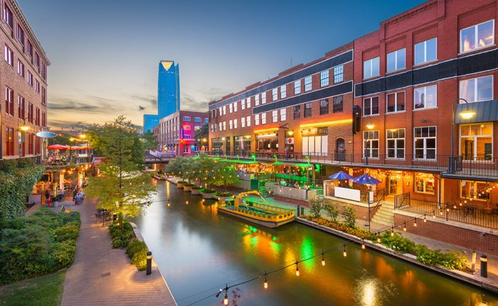 Oklahoma's historic Bricktown at sunset, located a few miles west of ES3's Midwest City Office.